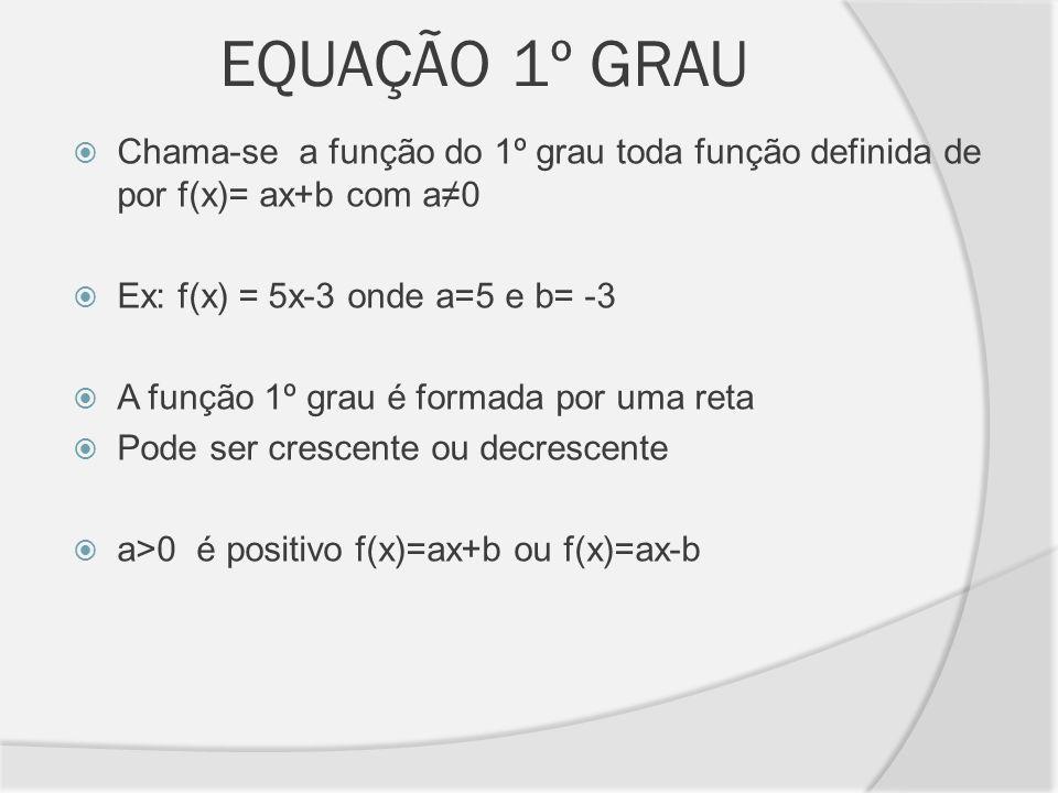 EQUAÇÃO 1º GRAU Chama-se a função do 1º grau toda função definida de por f(x)= ax+b com a0 Ex: f(x) = 5x-3 onde a=5 e b= -3 A função 1º grau é formada