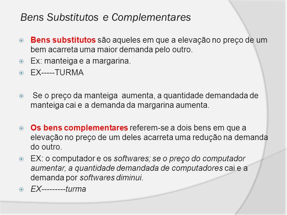 Bens Substitutos e Complementares Bens substitutos são aqueles em que a elevação no preço de um bem acarreta uma maior demanda pelo outro. Ex: manteig