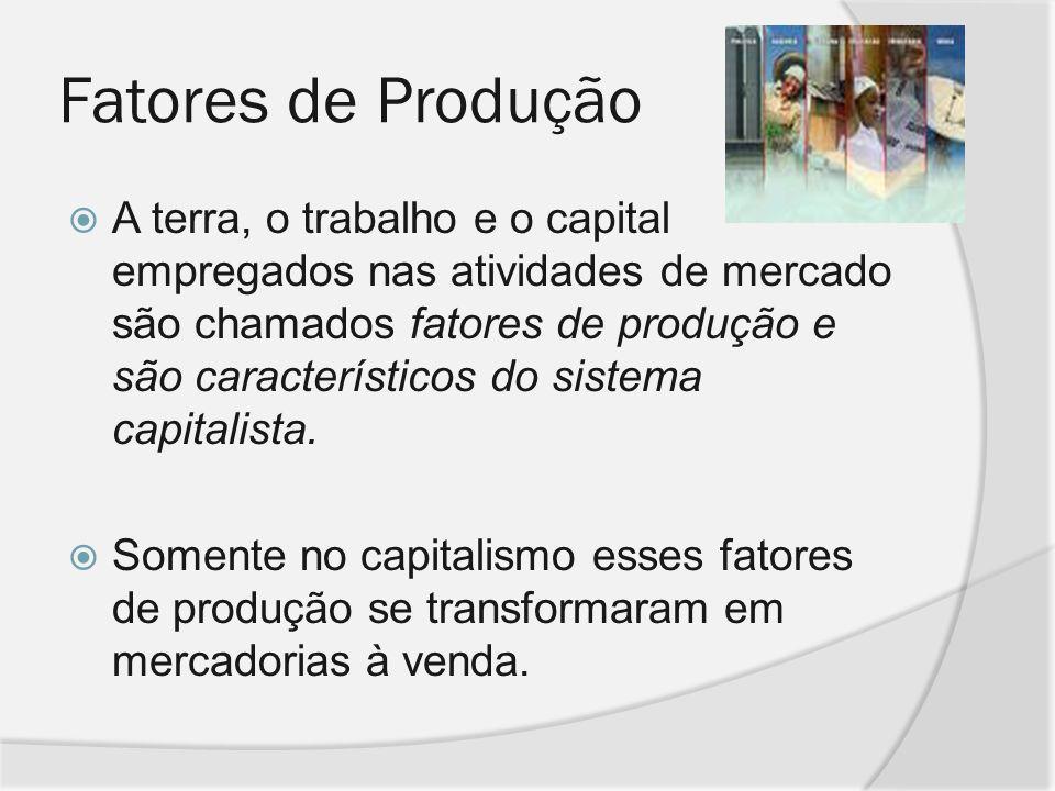 Fatores de Produção A terra, o trabalho e o capital empregados nas atividades de mercado são chamados fatores de produção e são característicos do sis