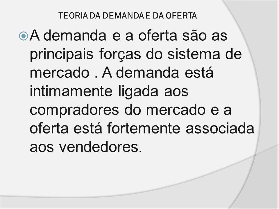 TEORIA DA DEMANDA E DA OFERTA A demanda e a oferta são as principais forças do sistema de mercado. A demanda está intimamente ligada aos compradores d