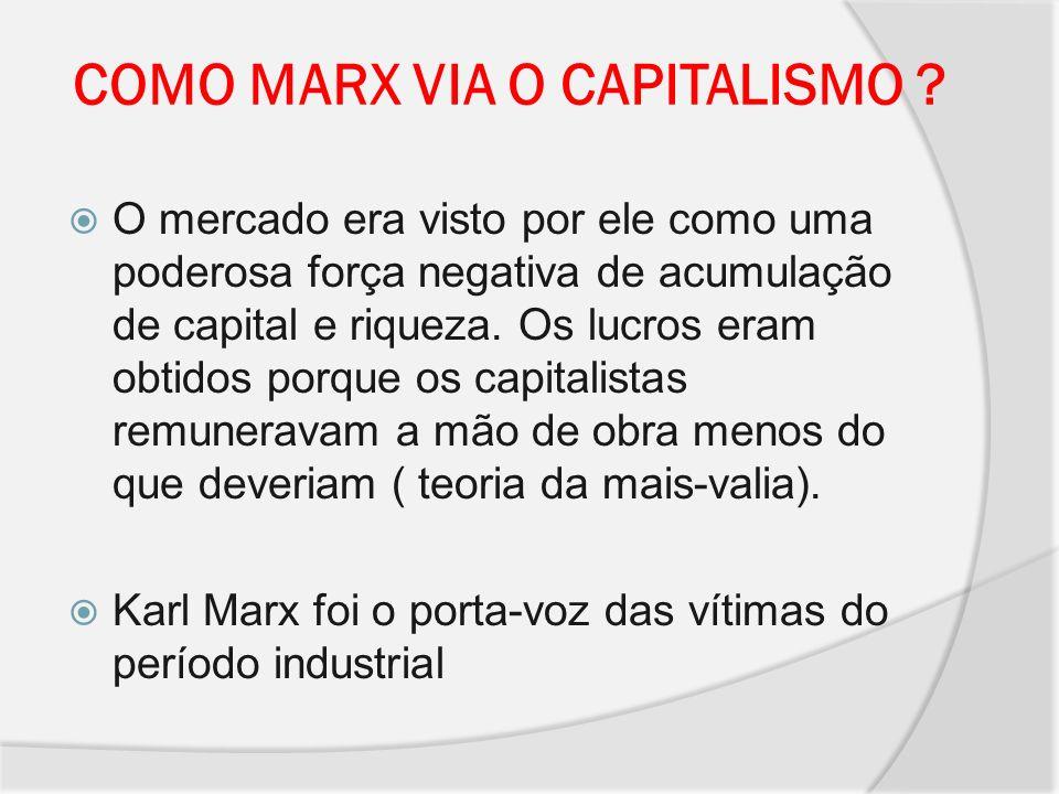 COMO MARX VIA O CAPITALISMO ? O mercado era visto por ele como uma poderosa força negativa de acumulação de capital e riqueza. Os lucros eram obtidos