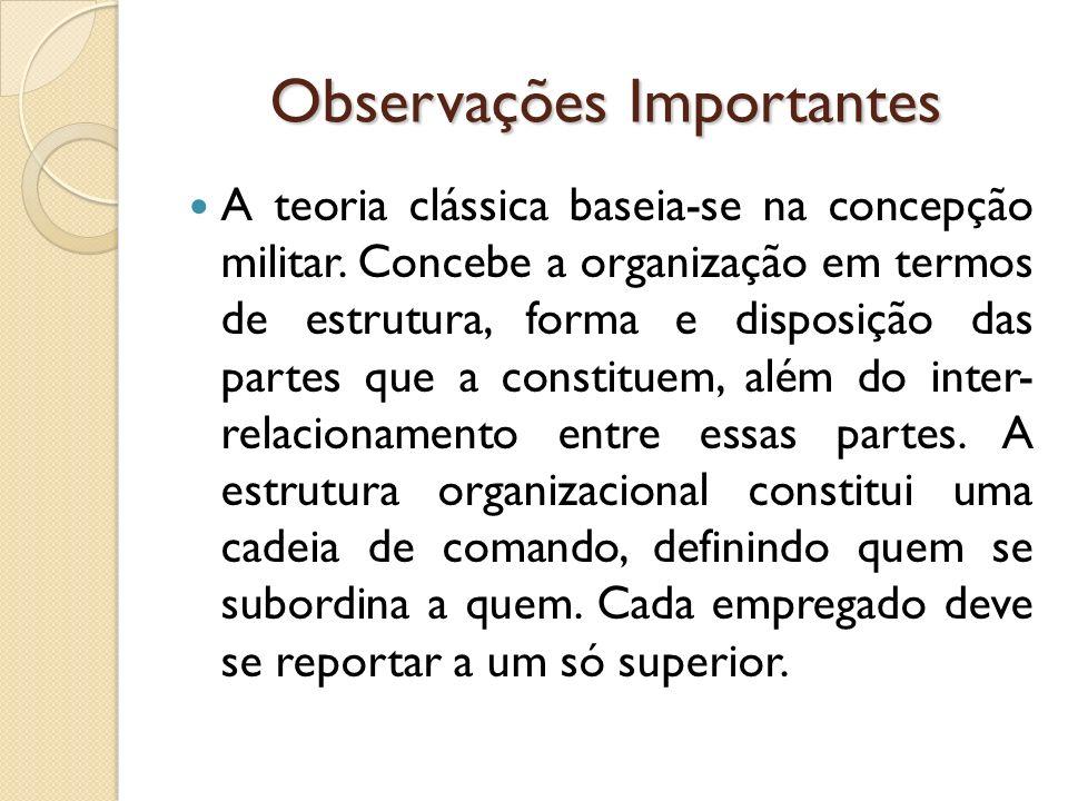 Observações Importantes A teoria clássica baseia-se na concepção militar. Concebe a organização em termos de estrutura, forma e disposição das partes