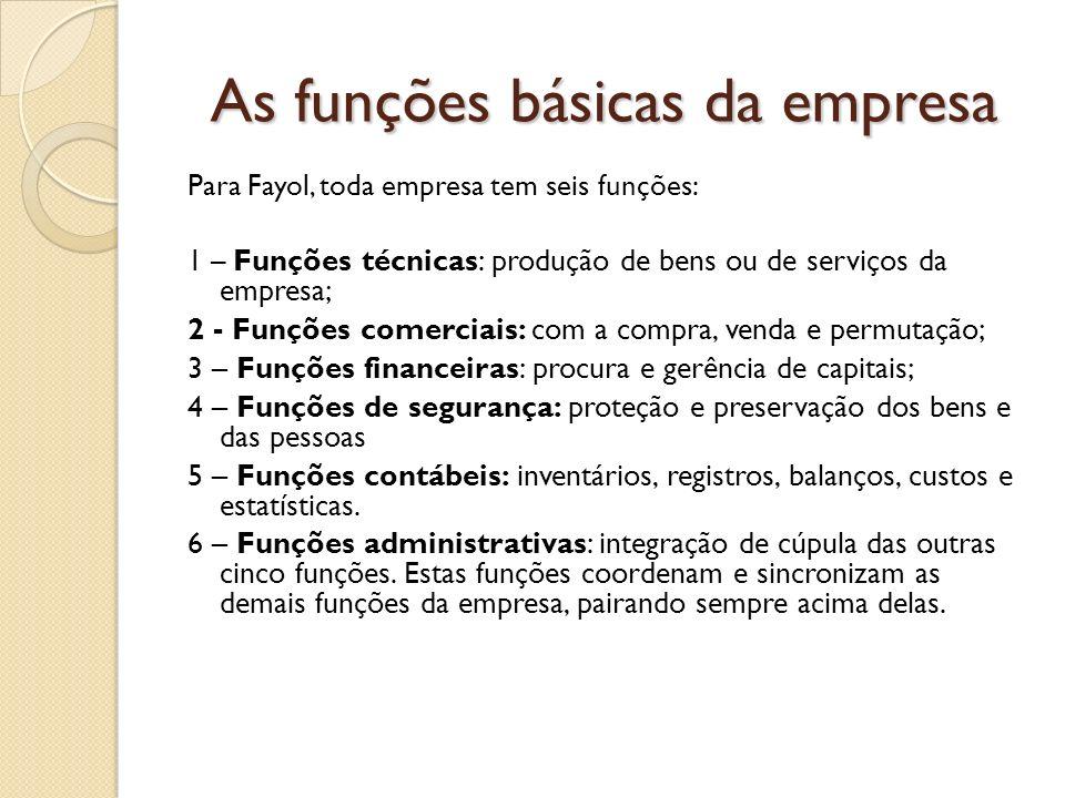 As funções básicas da empresa Para Fayol, toda empresa tem seis funções: 1 – Funções técnicas: produção de bens ou de serviços da empresa; 2 - Funções