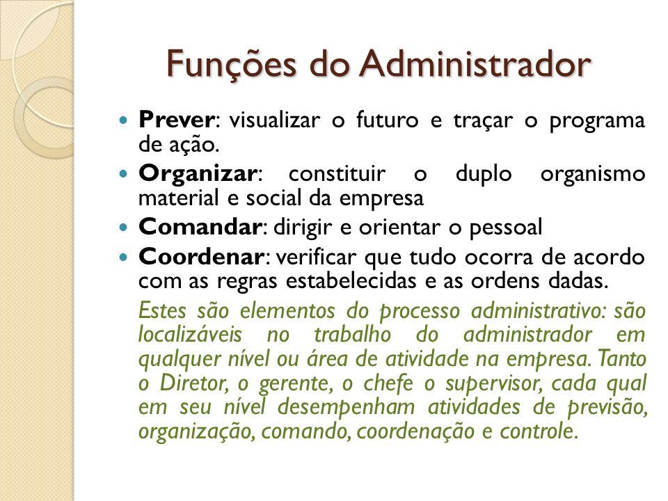 Funções do Administrador Prever: visualizar o futuro e traçar o programa de ação. Organizar: constituir o duplo organismo material e social da empresa