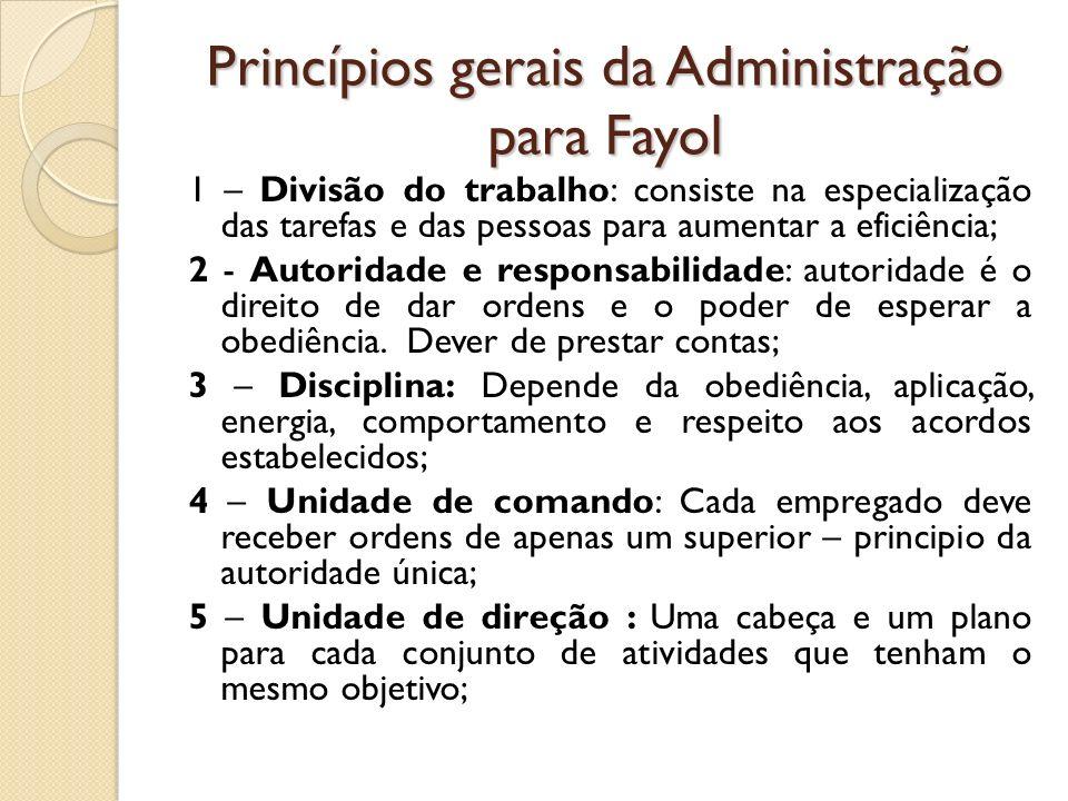 Princípios gerais da Administração para Fayol 1 – Divisão do trabalho: consiste na especialização das tarefas e das pessoas para aumentar a eficiência