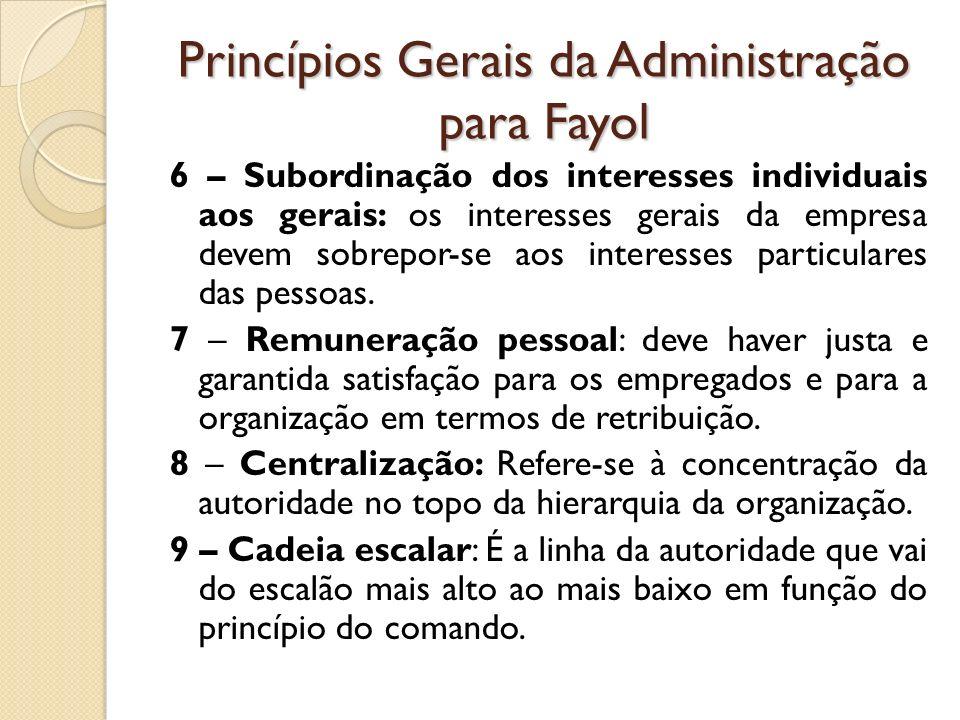 Princípios Gerais da Administração para Fayol 6 – Subordinação dos interesses individuais aos gerais: os interesses gerais da empresa devem sobrepor-s