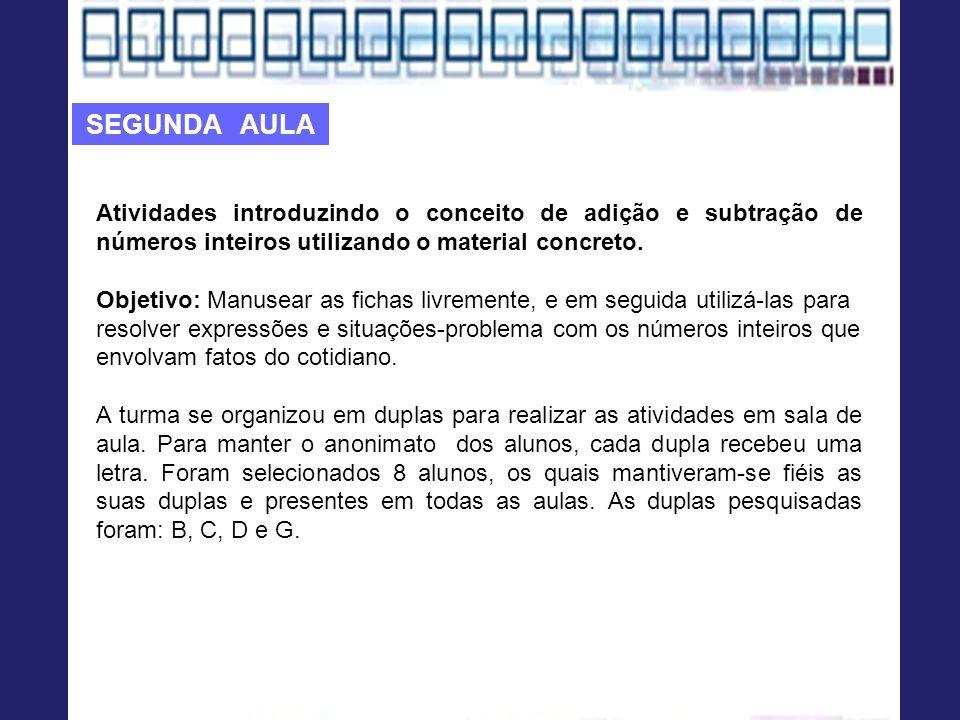 Atividades introduzindo o conceito de adição e subtração de números inteiros utilizando o material concreto. Objetivo: Manusear as fichas livremente,