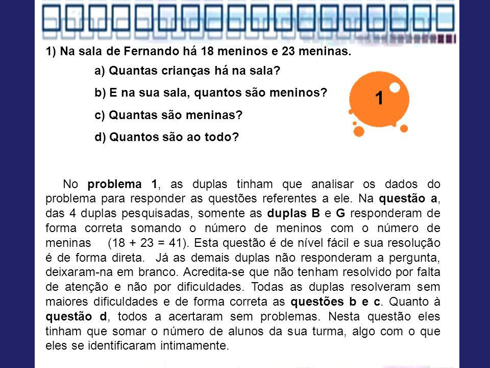 1) Na sala de Fernando há 18 meninos e 23 meninas. a) Quantas crianças há na sala? b) E na sua sala, quantos são meninos? c) Quantas são meninas? d) Q