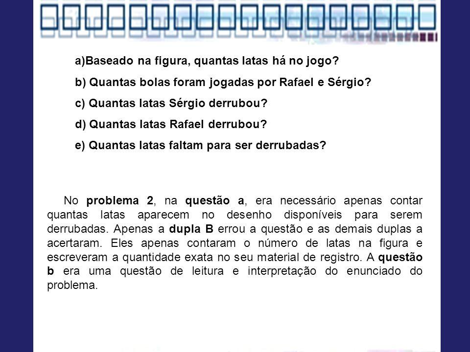 a)Baseado na figura, quantas latas há no jogo? b) Quantas bolas foram jogadas por Rafael e Sérgio? c) Quantas latas Sérgio derrubou? d) Quantas latas
