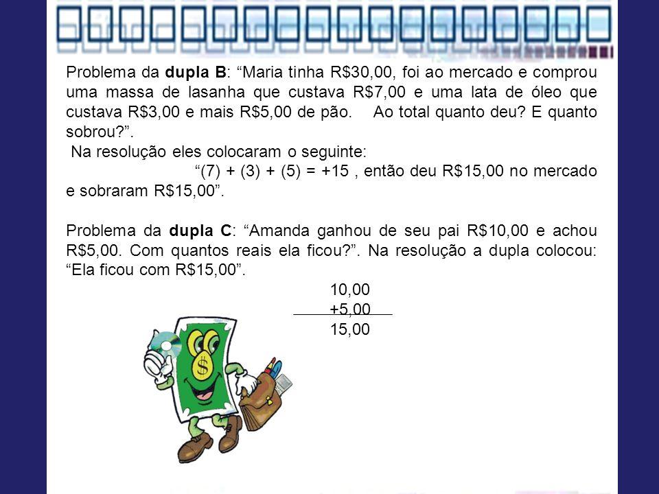 Problema da dupla B: Maria tinha R$30,00, foi ao mercado e comprou uma massa de lasanha que custava R$7,00 e uma lata de óleo que custava R$3,00 e mais R$5,00 de pão.