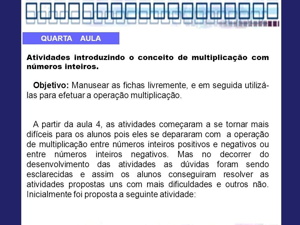 Atividades introduzindo o conceito de multiplicação com números inteiros.