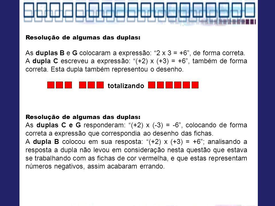Resolução de algumas das duplas: As duplas B e G colocaram a expressão: 2 x 3 = +6, de forma correta. A dupla C escreveu a expressão: (+2) x (+3) = +6