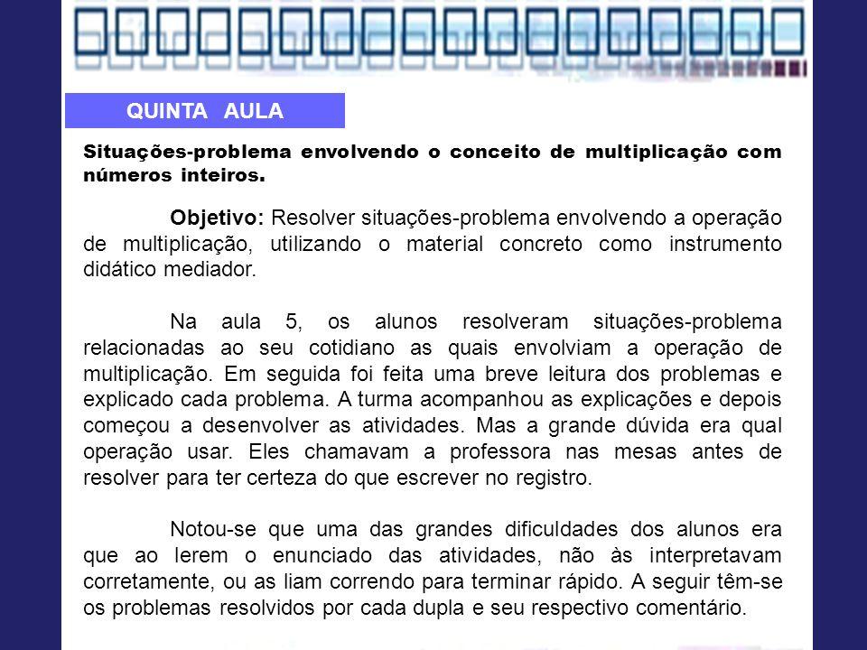 Situações-problema envolvendo o conceito de multiplicação com números inteiros.