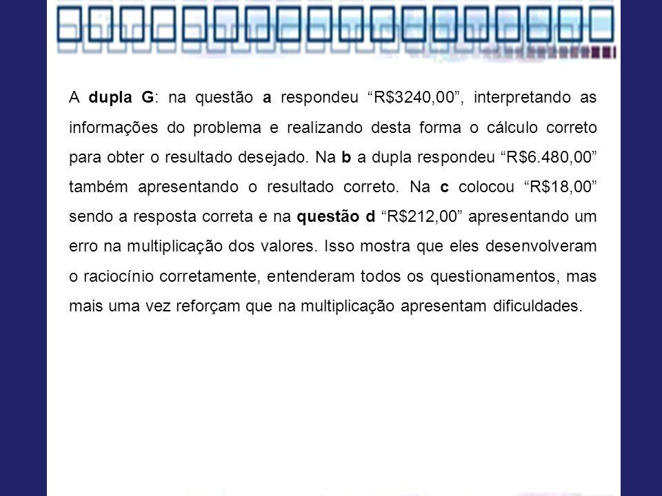 A dupla G: na questão a respondeu R$3240,00, interpretando as informações do problema e realizando desta forma o cálculo correto para obter o resultado desejado.