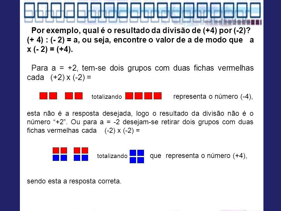 Por exemplo, qual é o resultado da divisão de (+4) por (-2)? (+ 4) : (- 2) = a, ou seja, encontre o valor de a de modo que a x (- 2) = (+4). Para a =