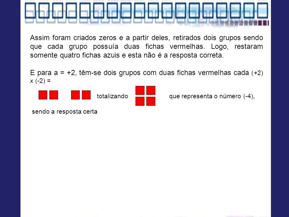 Assim foram criados zeros e a partir deles, retirados dois grupos sendo que cada grupo possuía duas fichas vermelhas. Logo, restaram somente quatro fi
