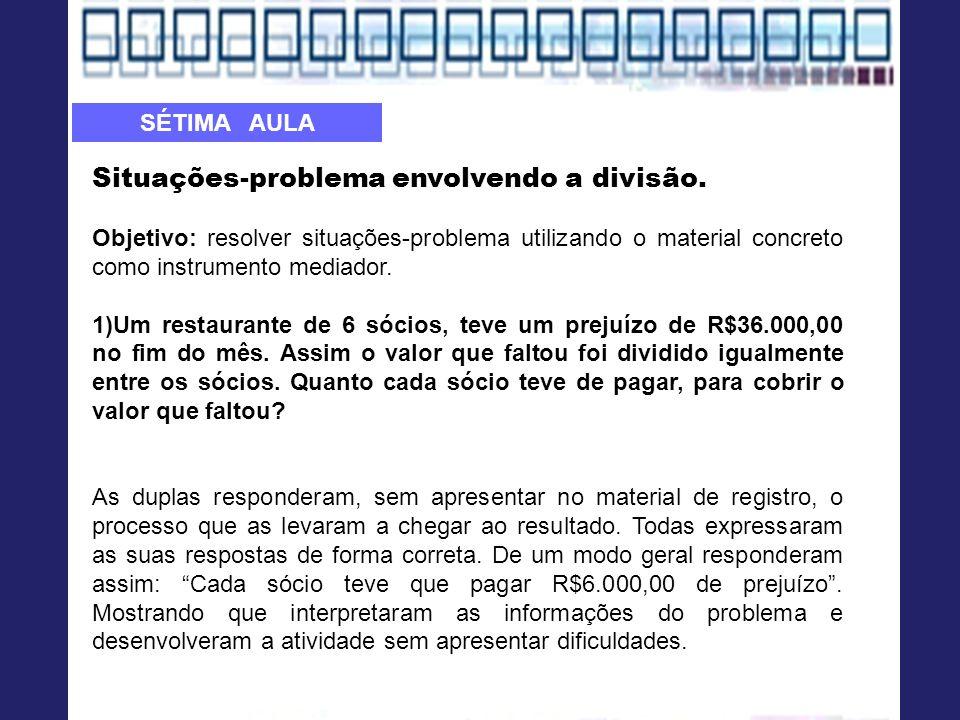 Situações-problema envolvendo a divisão. Objetivo: resolver situações-problema utilizando o material concreto como instrumento mediador. 1)Um restaura