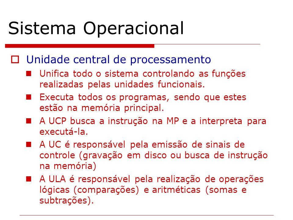Unidade central de processamento Unifica todo o sistema controlando as funções realizadas pelas unidades funcionais. Executa todos os programas, sendo