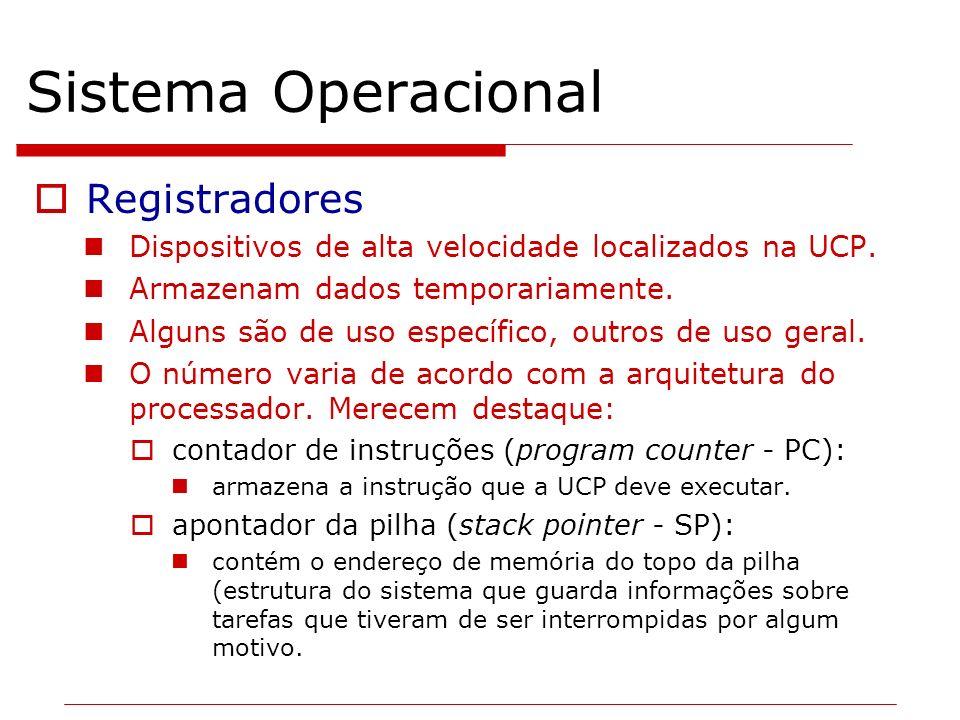 Sistema Operacional Registradores Dispositivos de alta velocidade localizados na UCP. Armazenam dados temporariamente. Alguns são de uso específico, o