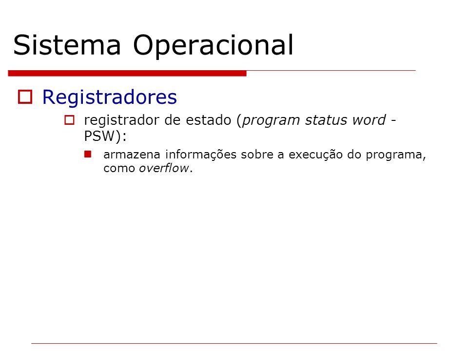 Sistema Operacional Registradores registrador de estado (program status word - PSW): armazena informações sobre a execução do programa, como overflow.