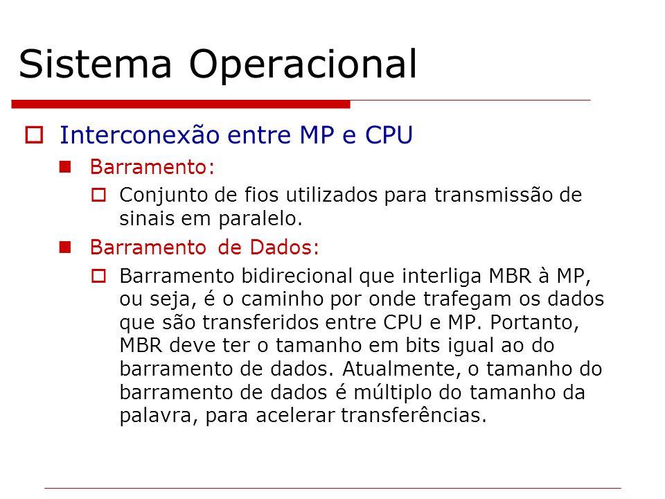 Sistema Operacional Interconexão entre MP e CPU Barramento: Conjunto de fios utilizados para transmissão de sinais em paralelo. Barramento de Dados: B