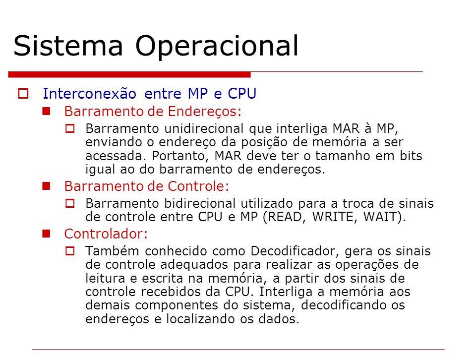 Sistema Operacional Interconexão entre MP e CPU Barramento de Endereços: Barramento unidirecional que interliga MAR à MP, enviando o endereço da posiç