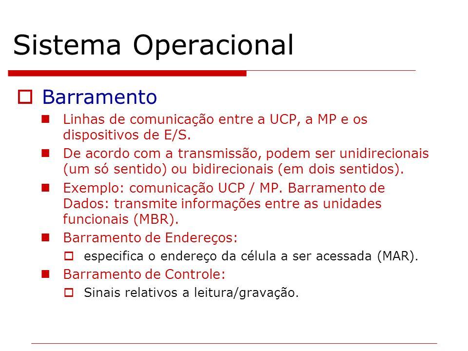 Sistema Operacional Barramento Linhas de comunicação entre a UCP, a MP e os dispositivos de E/S. De acordo com a transmissão, podem ser unidirecionais
