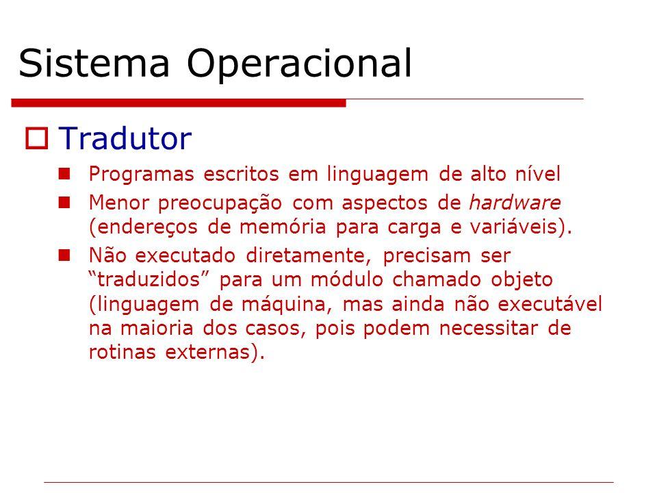Sistema Operacional Tradutor Programas escritos em linguagem de alto nível Menor preocupação com aspectos de hardware (endereços de memória para carga