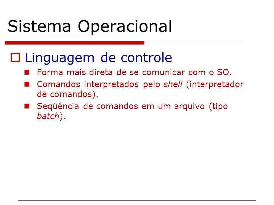 Sistema Operacional Linguagem de controle Forma mais direta de se comunicar com o SO. Comandos interpretados pelo shell (interpretador de comandos). S