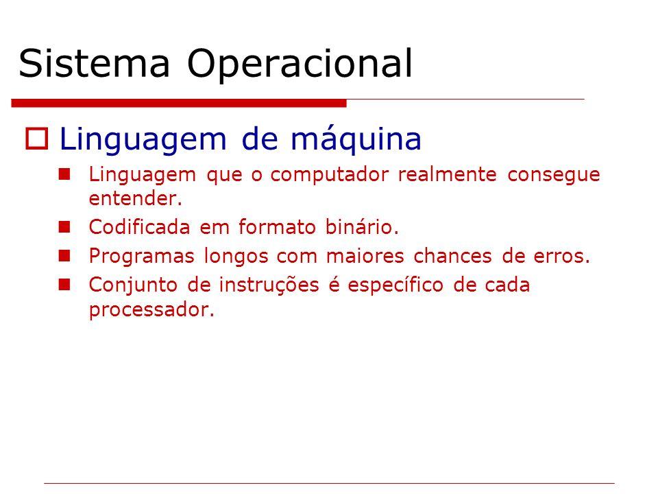 Sistema Operacional Linguagem de máquina Linguagem que o computador realmente consegue entender. Codificada em formato binário. Programas longos com m
