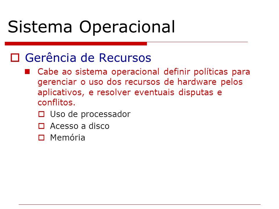 Sistema Operacional Gerência de Recursos Cabe ao sistema operacional definir políticas para gerenciar o uso dos recursos de hardware pelos aplicativos