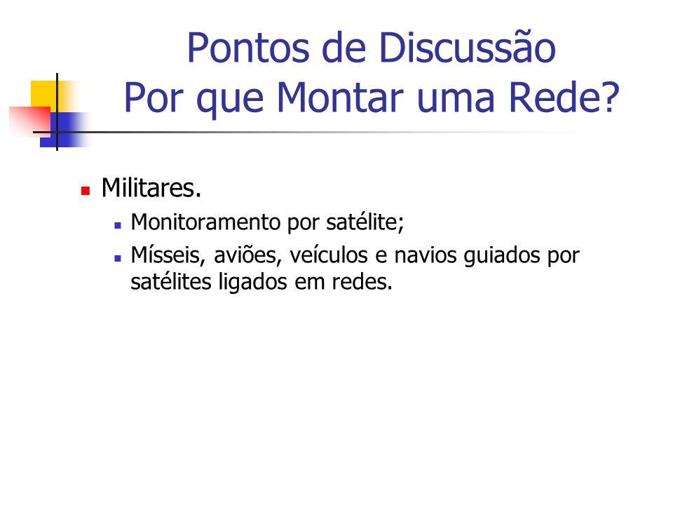 Pontos de Discussão Por que Montar uma Rede? Militares. Monitoramento por satélite; Mísseis, aviões, veículos e navios guiados por satélites ligados e