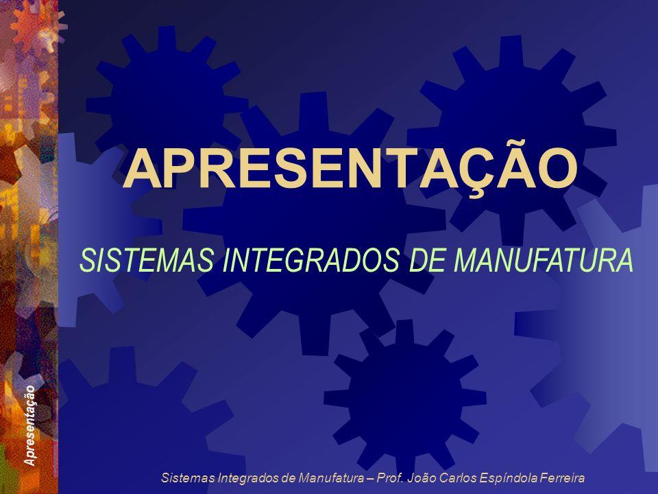 Apresentação Sistemas Integrados de Manufatura – Prof. João Carlos Espíndola Ferreira APRESENTAÇÃO SISTEMAS INTEGRADOS DE MANUFATURA