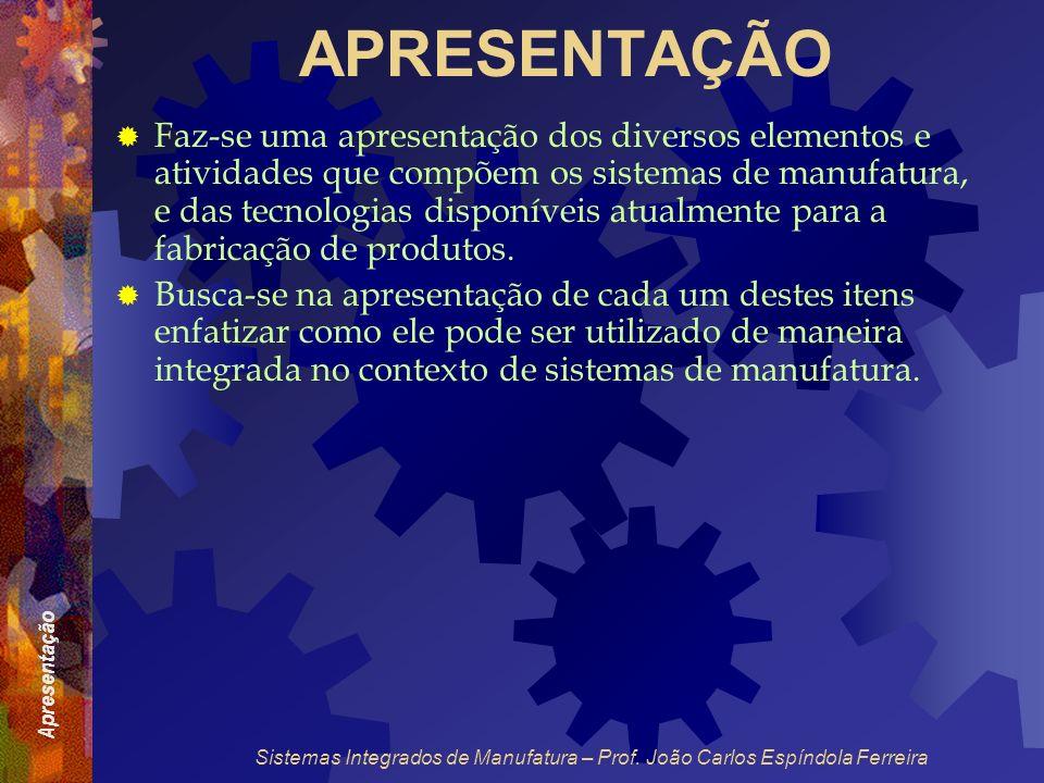 Apresentação Sistemas Integrados de Manufatura – Prof. João Carlos Espíndola Ferreira APRESENTAÇÃO Faz-se uma apresentação dos diversos elementos e at