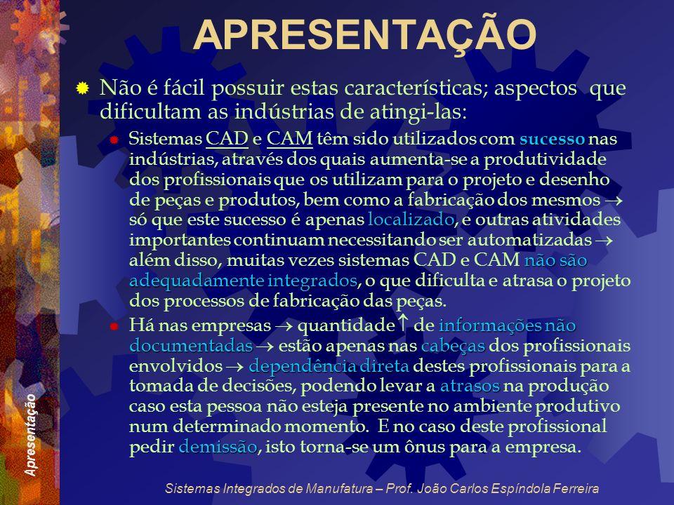 Apresentação Sistemas Integrados de Manufatura – Prof. João Carlos Espíndola Ferreira APRESENTAÇÃO Não é fácil possuir estas características; aspectos