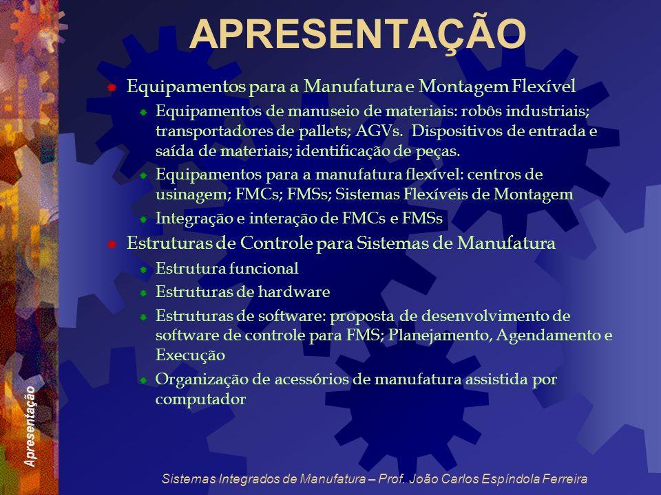 Apresentação Sistemas Integrados de Manufatura – Prof. João Carlos Espíndola Ferreira APRESENTAÇÃO Equipamentos para a Manufatura e Montagem Flexível