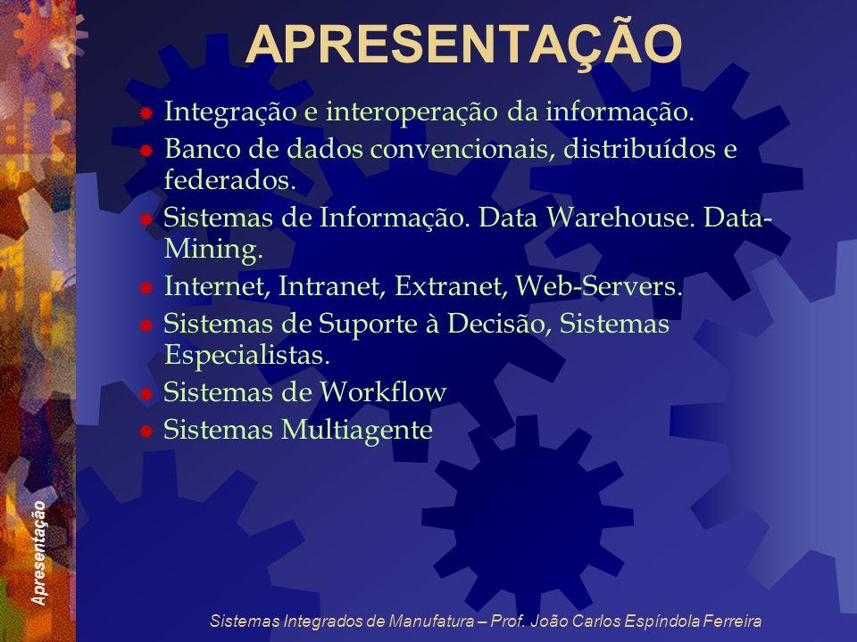 Apresentação Sistemas Integrados de Manufatura – Prof. João Carlos Espíndola Ferreira APRESENTAÇÃO Integração e interoperação da informação. Banco de