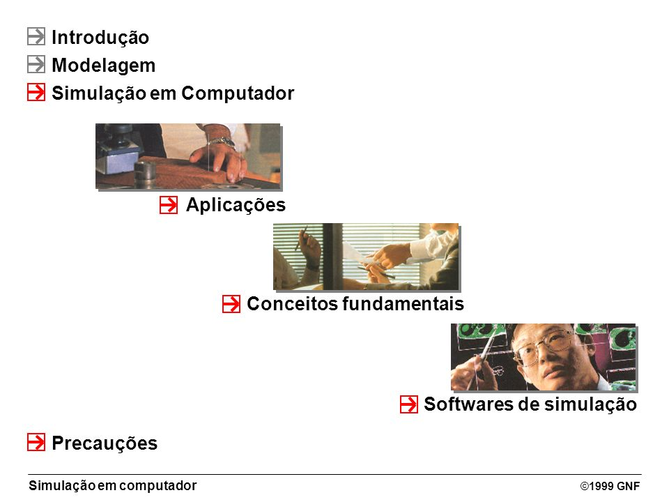 Simulação em computador ©1999 GNF Introdução Modelagem Simulação em Computador Aplicações Precauções Conceitos fundamentais Softwares de simulação