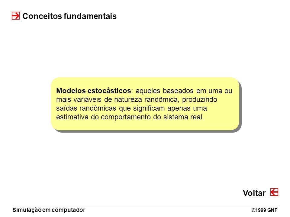 Simulação em computador ©1999 GNF Conceitos fundamentais Modelos estocásticos: aqueles baseados em uma ou mais variáveis de natureza randômica, produz