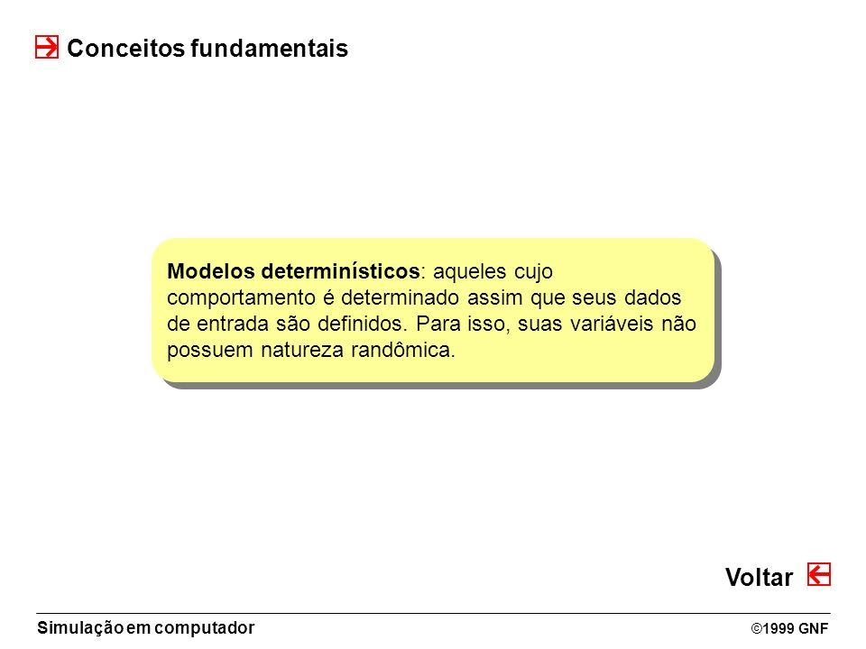 Simulação em computador ©1999 GNF Conceitos fundamentais Modelos determinísticos: aqueles cujo comportamento é determinado assim que seus dados de ent