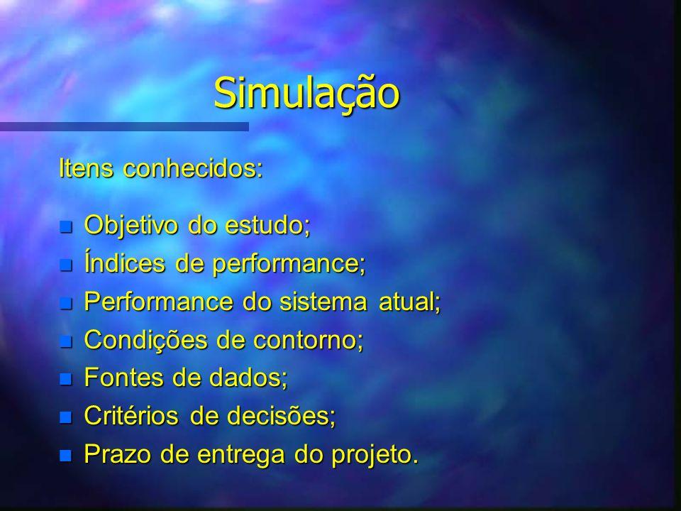 Simulação Itens conhecidos: n Objetivo do estudo; n Índices de performance; n Performance do sistema atual; n Condições de contorno; n Fontes de dados; n Critérios de decisões; n Prazo de entrega do projeto.