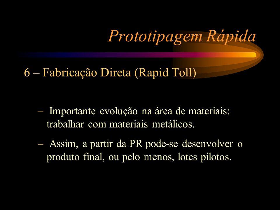 Prototipagem Rápida 6 – Fabricação Direta (Rapid Toll) – Importante evolução na área de materiais: trabalhar com materiais metálicos. – Assim, a parti