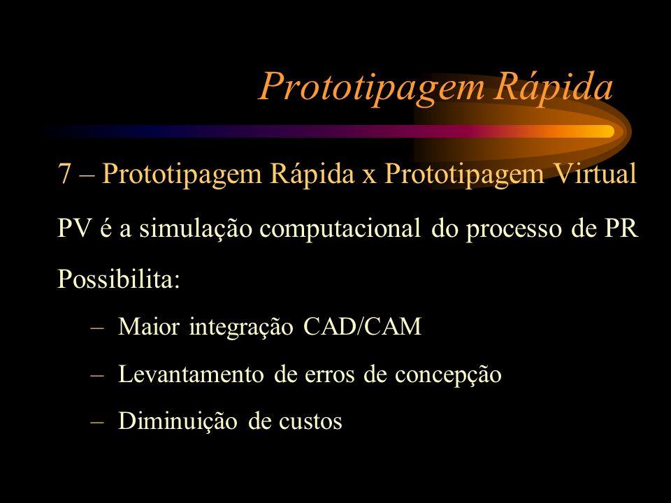 Prototipagem Rápida 7 – Prototipagem Rápida x Prototipagem Virtual PV é a simulação computacional do processo de PR Possibilita: – Maior integração CA
