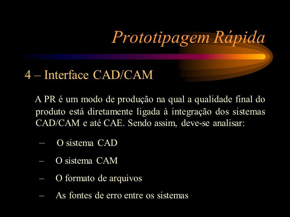 Prototipagem Rápida 4 – Interface CAD/CAM 4.1 O sistema CAD (Computer Aided Design) Existem três tipos básicos que dominam o setor mecânico: Sistemas por modelagem Sólida Sistemas por modelagem de Superfícies Sistemas por modelagem Híbridos