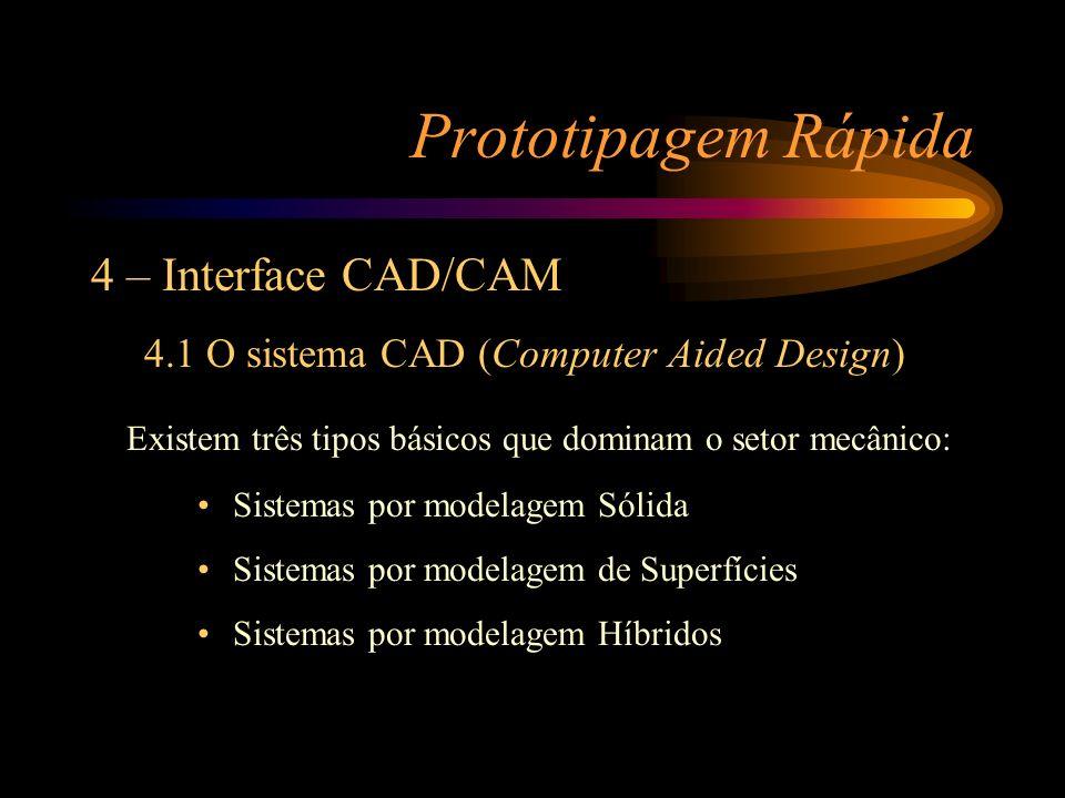 Prototipagem Rápida 4 – Interface CAD/CAM 4.1 O sistema CAD (Computer Aided Design) Existem três tipos básicos que dominam o setor mecânico: Sistemas