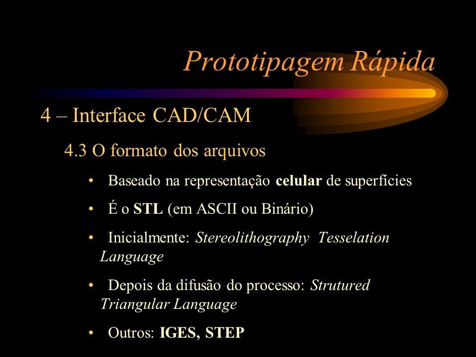 Prototipagem Rápida 4 – Interface CAD/CAM 4.3 O formato dos arquivos Baseado na representação celular de superfícies É o STL (em ASCII ou Binário) Ini