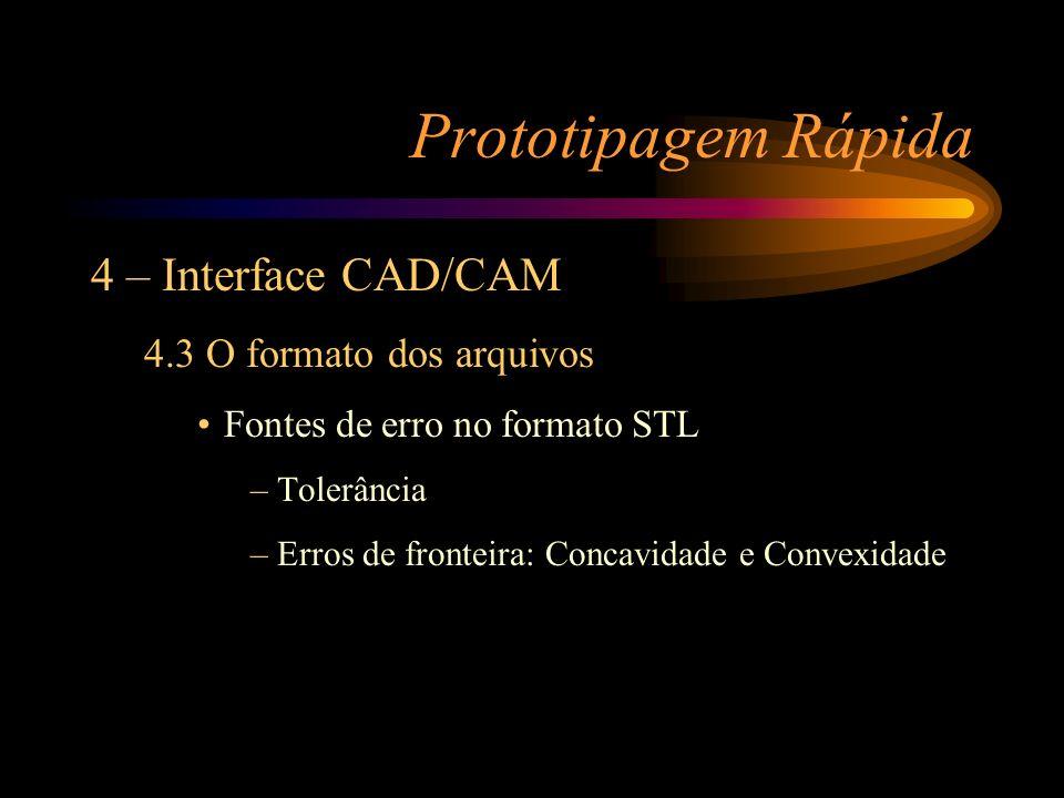 Prototipagem Rápida 4 – Interface CAD/CAM 4.3 O formato dos arquivos Fontes de erro no formato STL –Tolerância –Erros de fronteira: Concavidade e Conv