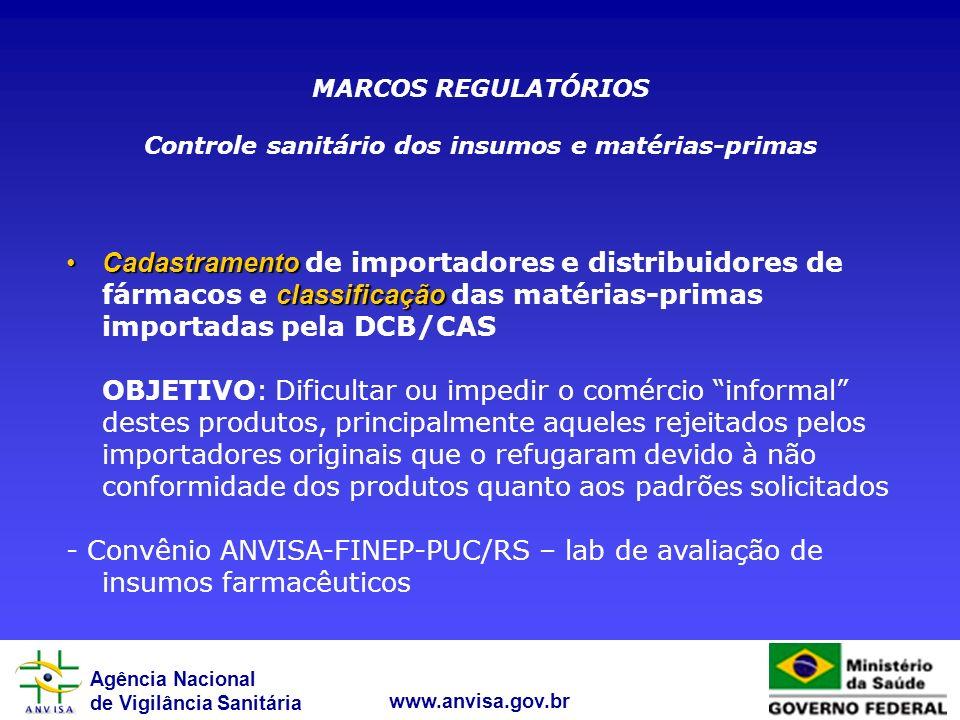 Agência Nacional de Vigilância Sanitária www.anvisa.gov.br Cadastramento classificaçãoCadastramento de importadores e distribuidores de fármacos e cla