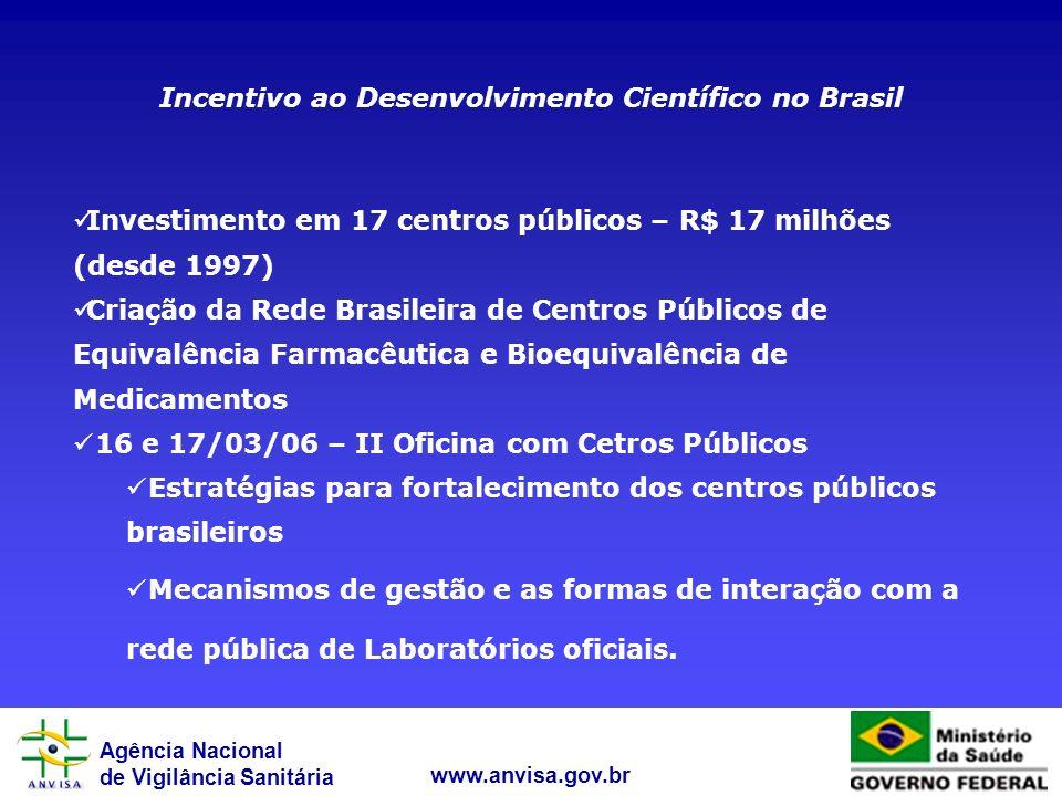 Agência Nacional de Vigilância Sanitária www.anvisa.gov.br Incentivo ao Desenvolvimento Científico no Brasil Investimento em 17 centros públicos – R$