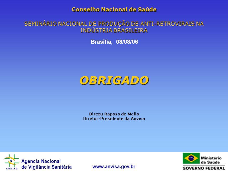 Agência Nacional de Vigilância Sanitária www.anvisa.gov.br Conselho Nacional de Saúde SEMINÁRIO NACIONAL DE PRODUÇÃO DE ANTI-RETROVIRAIS NA INDÚSTRIA